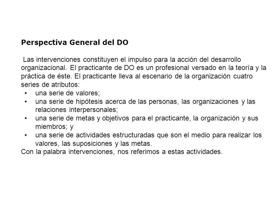 Perspectiva General del DO Las intervenciones constituyen el impulso para la acción del desarrollo organizacional. El practicante de DO es un profesio