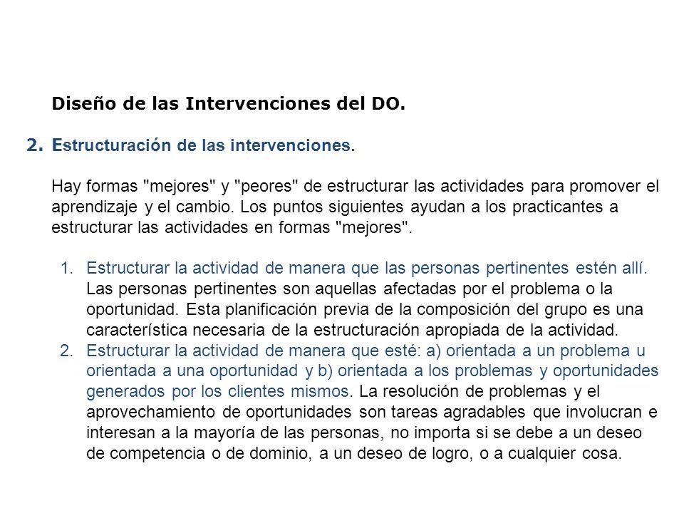 Diseño de las Intervenciones del DO. 2.E structuración de las intervenciones. Hay formas