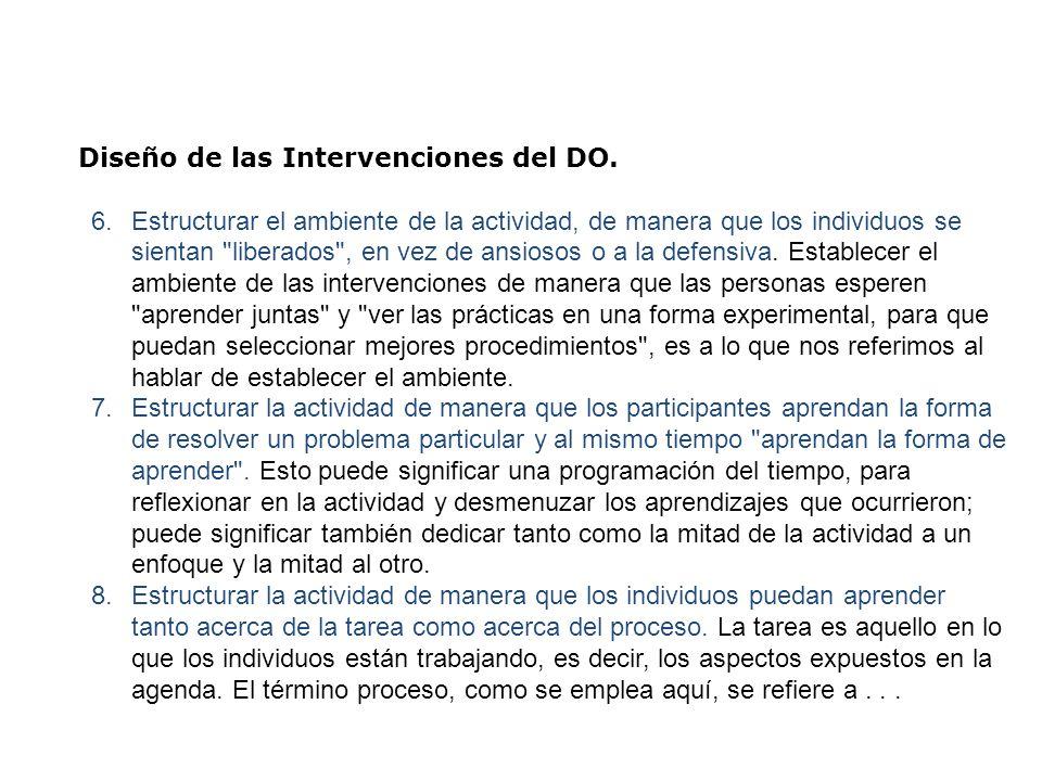 Diseño de las Intervenciones del DO. 6.Estructurar el ambiente de la actividad, de manera que los individuos se sientan