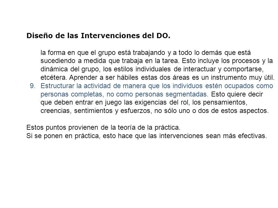 Diseño de las Intervenciones del DO. la forma en que el grupo está trabajando y a todo lo demás que está sucediendo a medida que trabaja en la tarea.