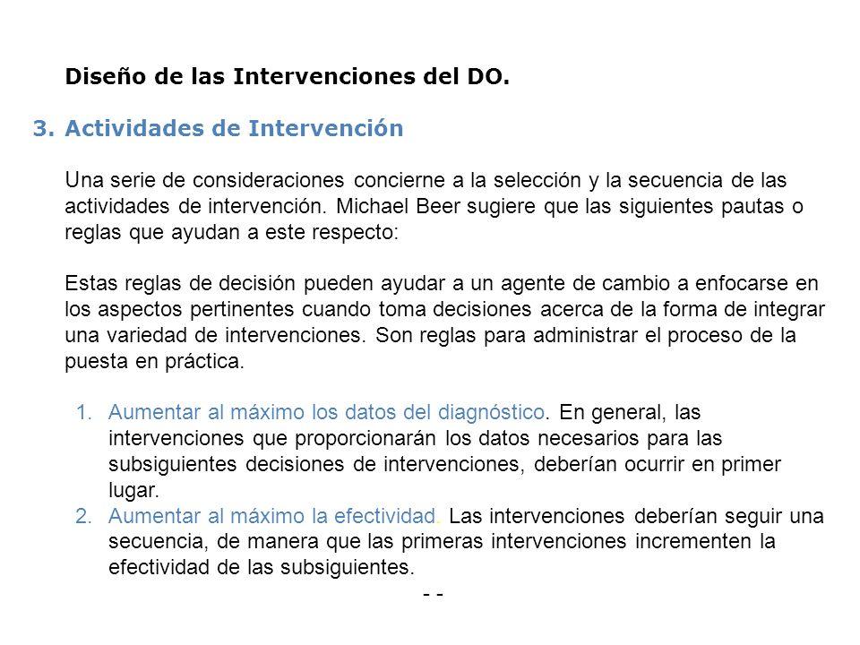 Diseño de las Intervenciones del DO. 3.Actividades de Intervención U na serie de consideraciones concierne a la selección y la secuencia de las activi