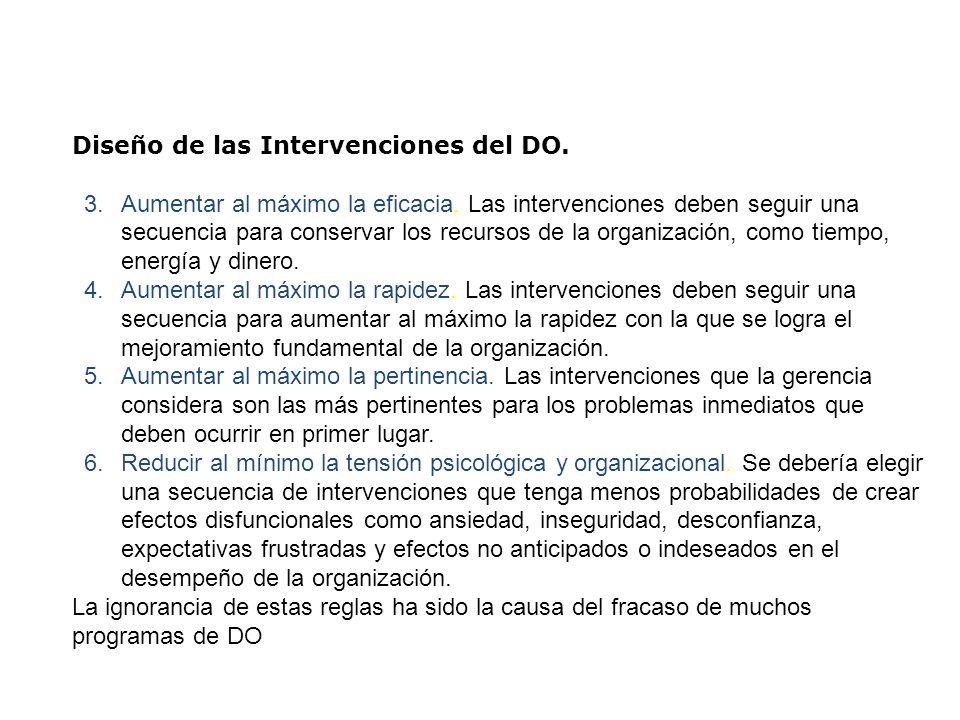 Diseño de las Intervenciones del DO. 3.Aumentar al máximo la eficacia. Las intervenciones deben seguir una secuencia para conservar los recursos de la