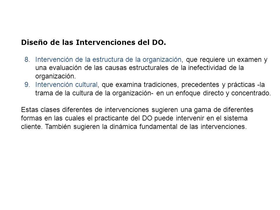 Diseño de las Intervenciones del DO. 8.Intervención de la estructura de la organización, que requiere un examen y una evaluación de las causas estruct