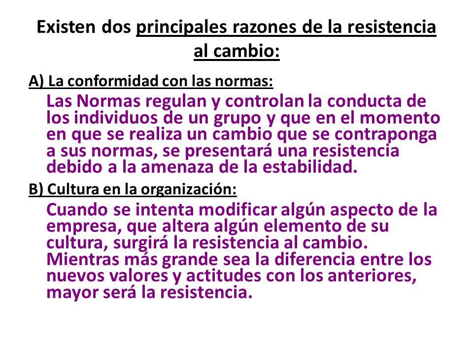Existen dos principales razones de la resistencia al cambio: A) La conformidad con las normas: Las Normas regulan y controlan la conducta de los indiv