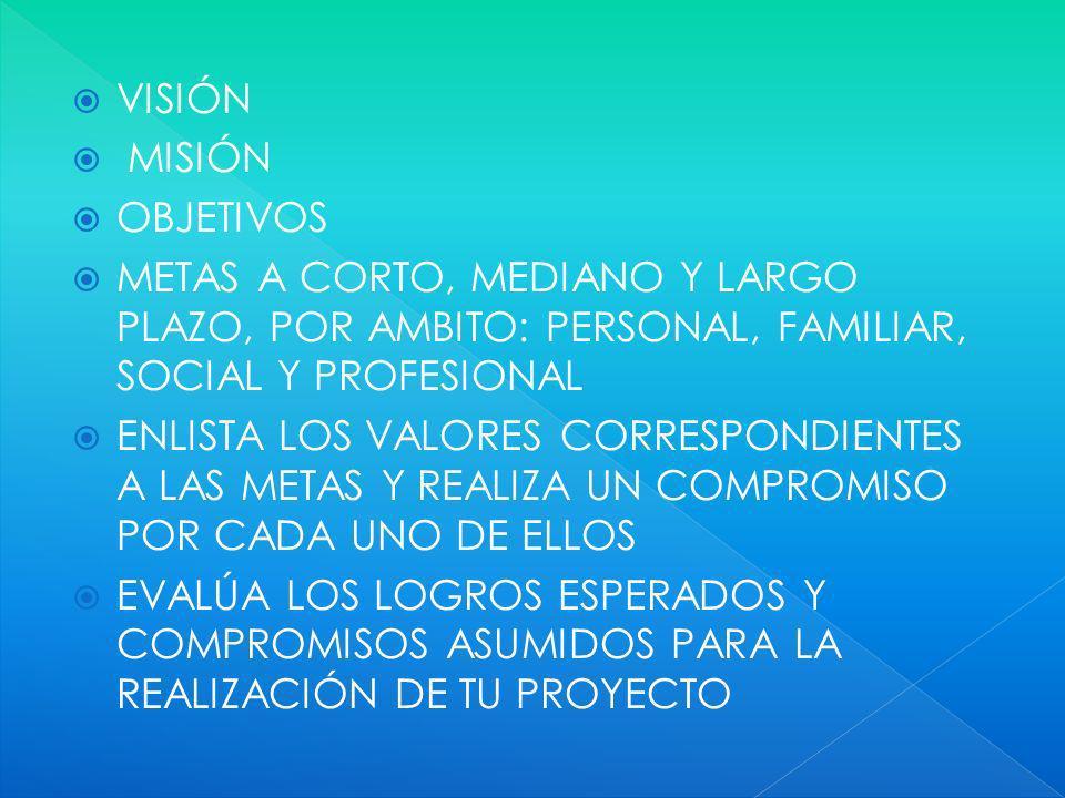 VISIÓN MISIÓN OBJETIVOS METAS A CORTO, MEDIANO Y LARGO PLAZO, POR AMBITO: PERSONAL, FAMILIAR, SOCIAL Y PROFESIONAL ENLISTA LOS VALORES CORRESPONDIENTES A LAS METAS Y REALIZA UN COMPROMISO POR CADA UNO DE ELLOS EVALÚA LOS LOGROS ESPERADOS Y COMPROMISOS ASUMIDOS PARA LA REALIZACIÓN DE TU PROYECTO