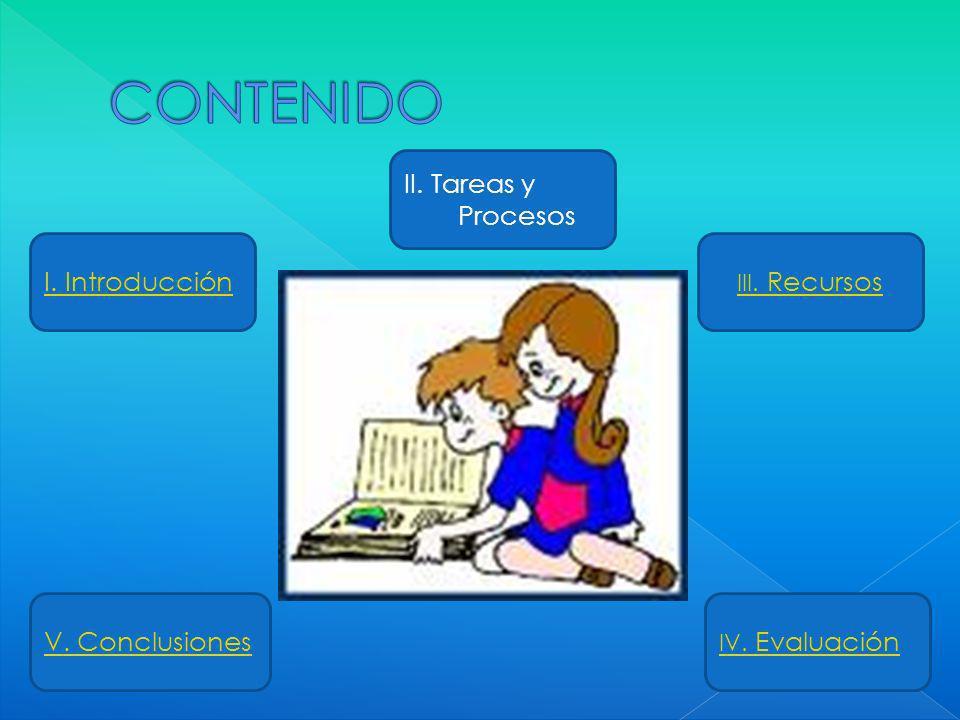 I. Introducción II. Tareas y Procesos V. Conclusiones III. Recursos IV. Evaluación