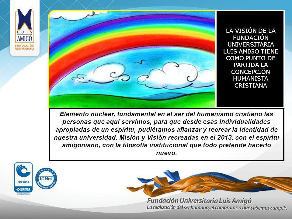 LA VISIÓN DE LA FUNDACIÓN UNIVERSITARIA LUIS AMIGÓ TIENE COMO PUNTO DE PARTIDA LA CONCEPCIÓN HUMANISTA CRISTIANA Elemento nuclear, fundamental en el s