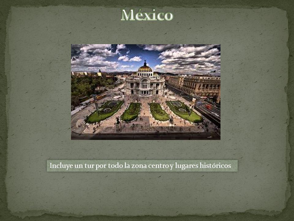 Incluye un tur por todo la zona centro y lugares históricos