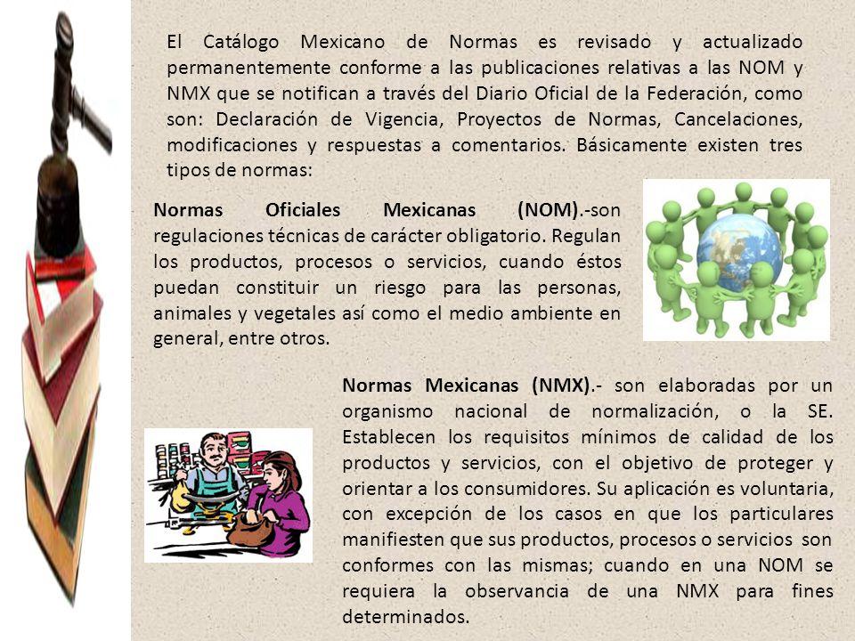 El Catálogo Mexicano de Normas es revisado y actualizado permanentemente conforme a las publicaciones relativas a las NOM y NMX que se notifican a tra