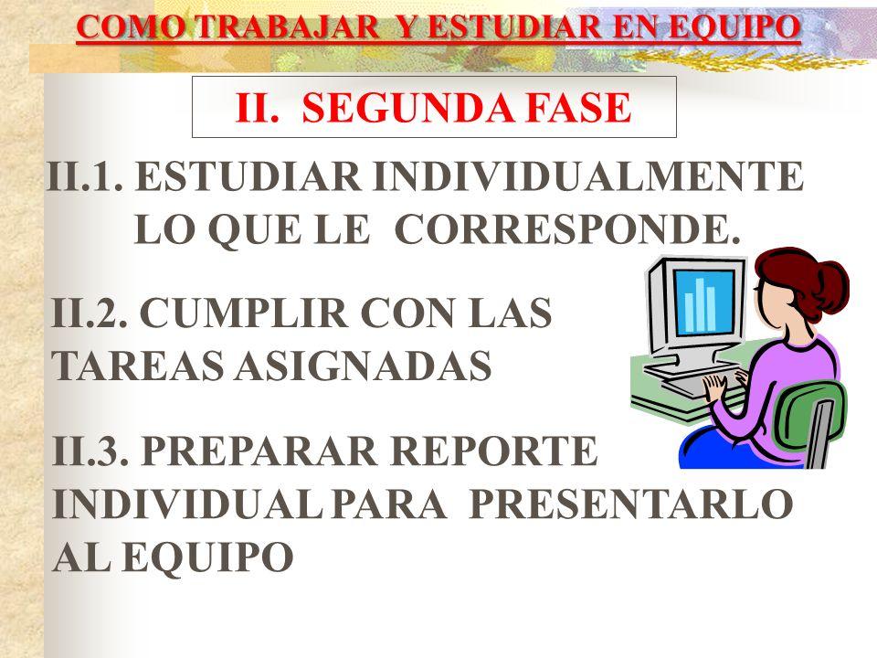 COMO TRABAJAR Y ESTUDIAR EN EQUIPO I. PRIMERA FASE I.1. DETERMINAR LOS OBJETIVOS Y NORMAS DE LA ACTIVIDAD I.2. FORMULARSE PREGUNTAS Y TOMAR NOTAS I.3.