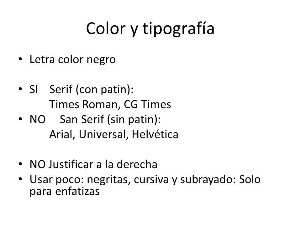 Color y tipografía Letra color negro SI Serif (con patin): Times Roman, CG Times NO San Serif (sin patin): Arial, Universal, Helvética NO Justificar a