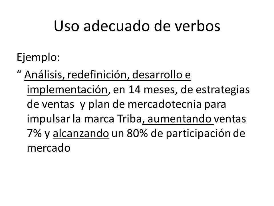 Uso adecuado de verbos Ejemplo: Análisis, redefinición, desarrollo e implementación, en 14 meses, de estrategias de ventas y plan de mercadotecnia par