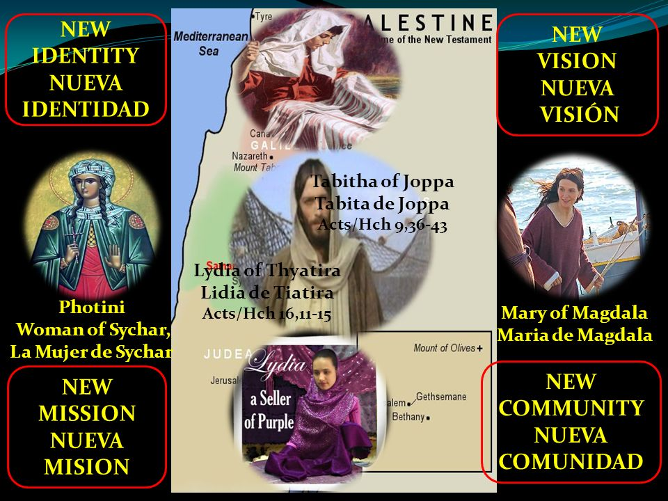 NEW IDENTITY NUEVA IDENTIDAD NEW MISSION NUEVA MISION Mary of Magdala Maria de Magdala NEW COMMUNITY NUEVA COMUNIDAD Photini Woman of Sychar, La Mujer de Sychar NEW VISION NUEVA VISIÓN Lydia of Thyatira Lidia de Tiatira Acts/Hch 16,11-15 Tabitha of Joppa Tabita de Joppa Acts/Hch 9,36-43