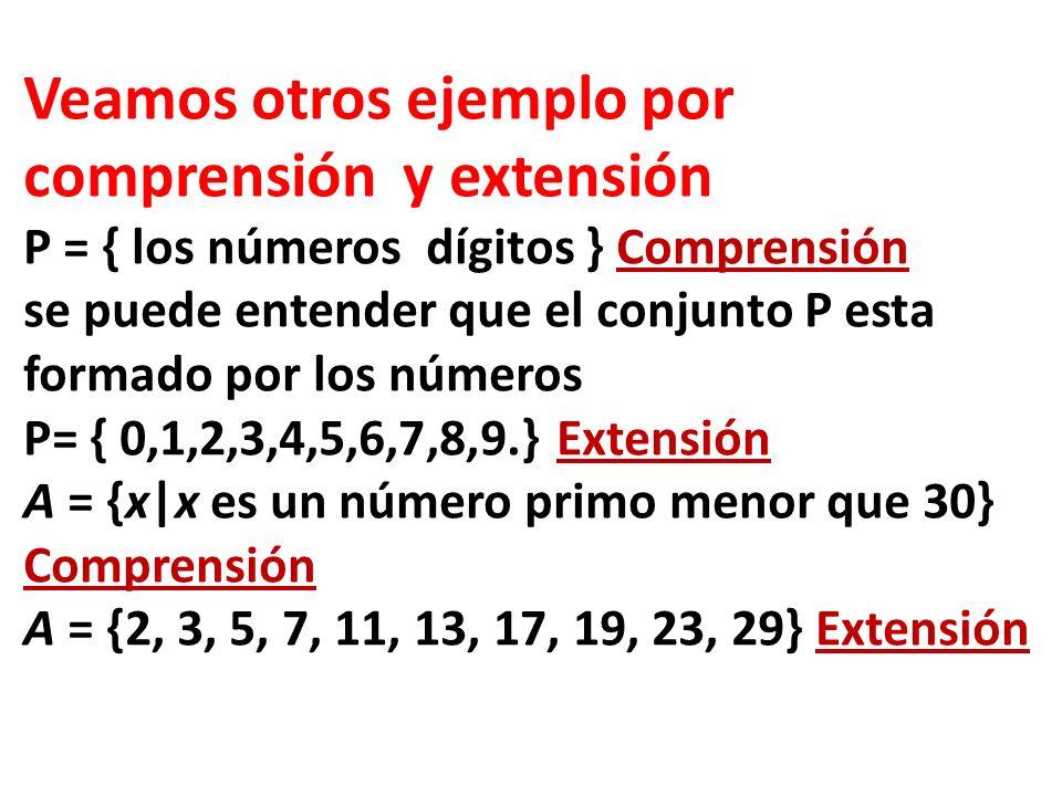 Veamos otros ejemplo por comprensión y extensión P = { los números dígitos } Comprensión se puede entender que el conjunto P esta formado por los núme