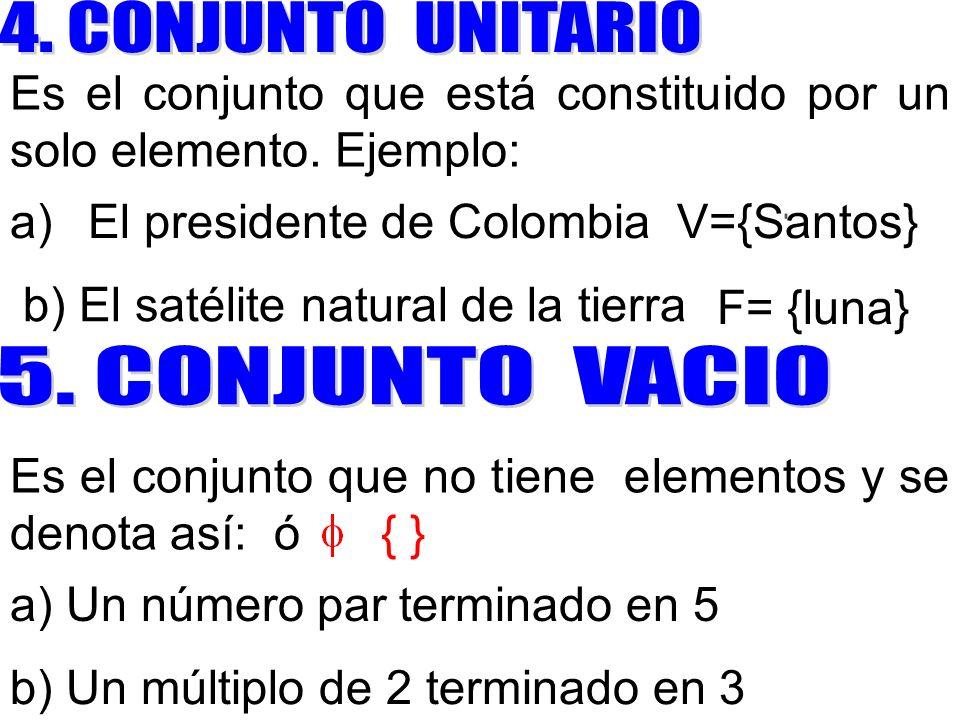 Es el conjunto que está constituido por un solo elemento. Ejemplo: l presidente de Colombia V={Santos} F= {luna} b) El satélite natural de la tierra E