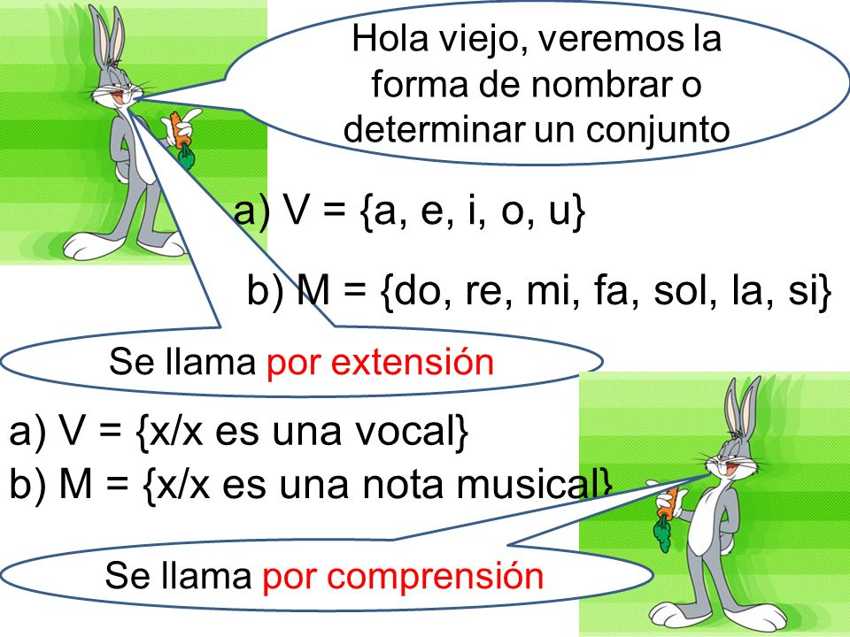 Hola viejo, veremos la forma de nombrar o determinar un conjunto a) V = {a, e, i, o, u} Se llama por extensión b) M = {do, re, mi, fa, sol, la, si} a)