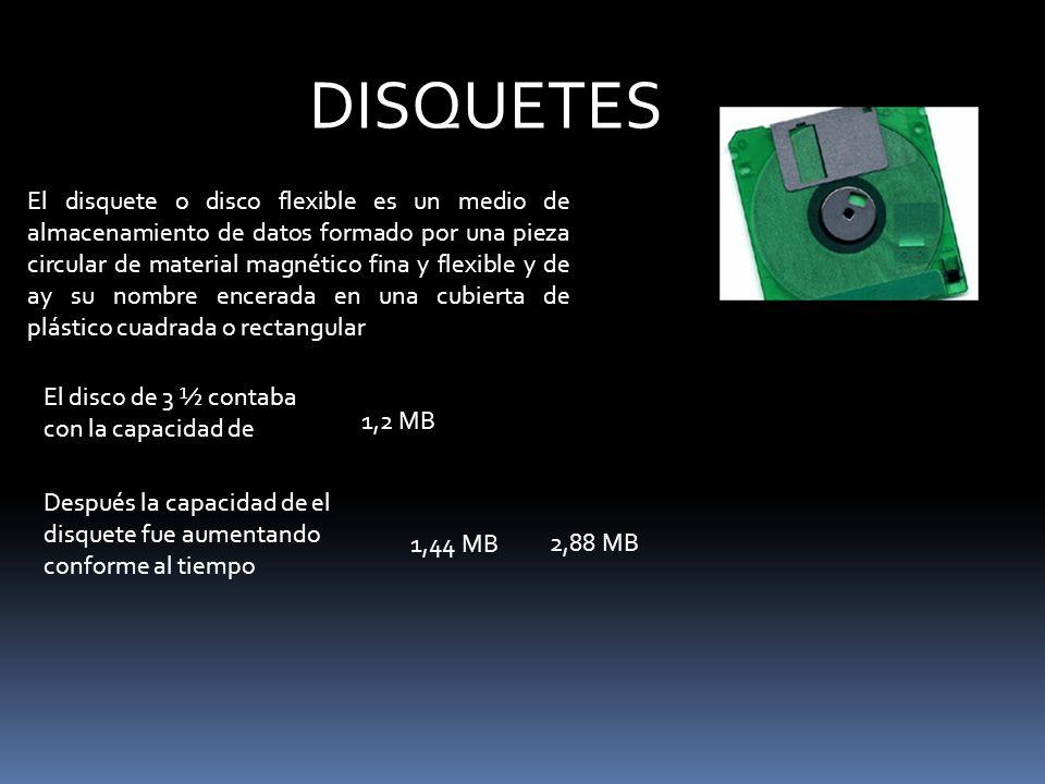 El disquete o disco flexible es un medio de almacenamiento de datos formado por una pieza circular de material magnético fina y flexible y de ay su no