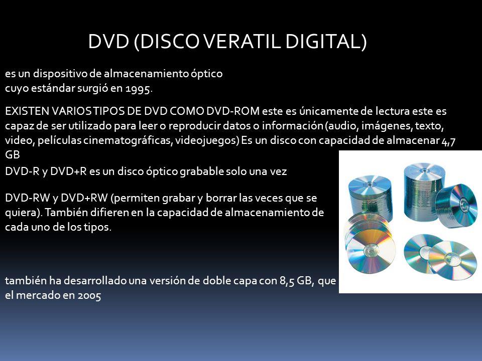 DVD (DISCO VERATIL DIGITAL) es un dispositivo de almacenamiento óptico cuyo estándar surgió en 1995. EXISTEN VARIOS TIPOS DE DVD COMO DVD-ROM este es