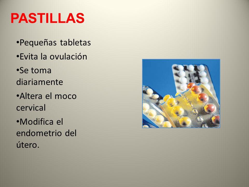 PASTILLAS Pequeñas tabletas Evita la ovulación Se toma diariamente Altera el moco cervical Modifica el endometrio del útero.