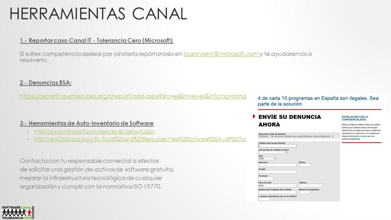 HERRAMIENTAS CANAL 1.- Reportar caso Canal IT - Tolerancia Cero (Microsoft): Si sufres competencia desleal por piratería repórtanoslo en buzonoem@micr