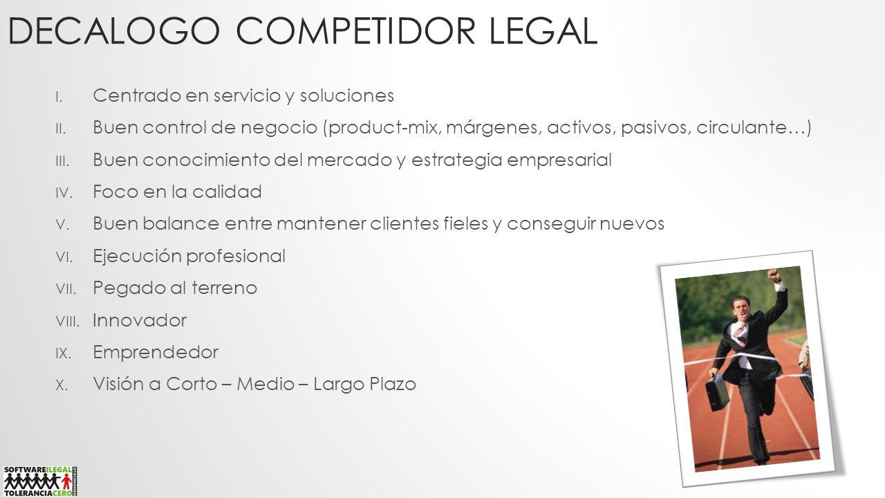 DECALOGO COMPETIDOR LEGAL I. Centrado en servicio y soluciones II. Buen control de negocio (product-mix, márgenes, activos, pasivos, circulante…) III.