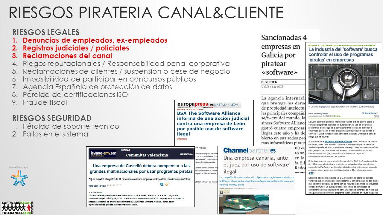 RIESGOS PIRATERIA CANAL&CLIENTE RIESGOS LEGALES 1.Denuncias de empleados, ex-empleados 2.Registros judiciales / policiales 3.Reclamaciones del canal 4