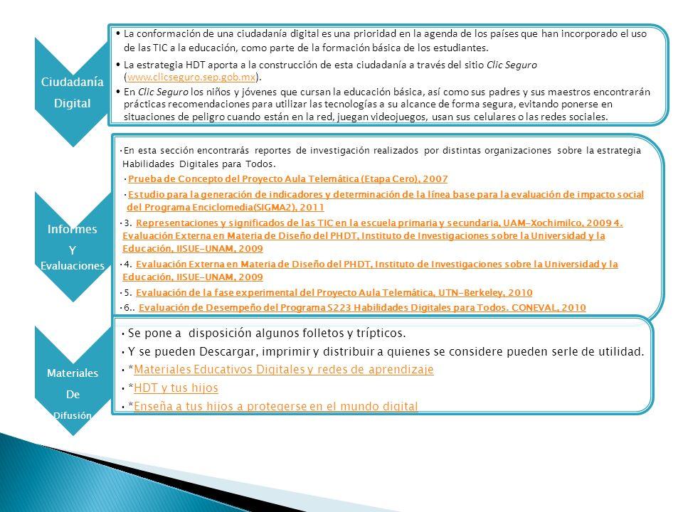 HDT Aquí encontrará información para conocer mejor la estrategia educativa Habilidades Digitales para Todos: componentes, competencias, ambientes de aprendizaje e investigaciones Maestros/ Ofrece información sobre acciones de capacitación y certificación Conocer mas sobre la plataforma, uso de las tecnologías.