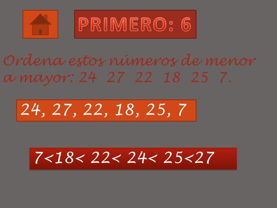 ¿Qué números hay entre el 6 y el 12?. 1, 2, 3, 4, 5 y 6 7, 8, 9, 10 y 11 12, 13, 14, 15 y 16