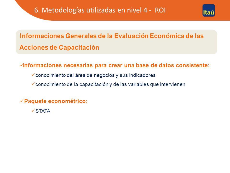 Informaciones Generales de la Evaluación Económica de las Acciones de Capacitación Informaciones necesarias para crear una base de datos consistente: conocimiento del área de negocios y sus indicadores conocimiento de la capacitación y de las variables que intervienen Paquete econométrico: STATA 6.