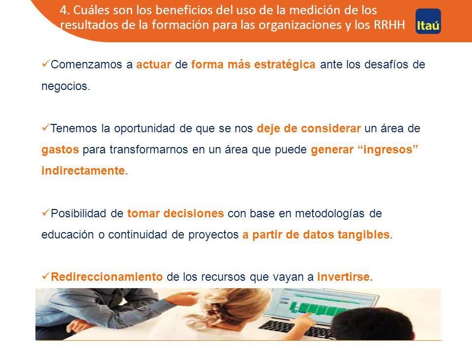 4. Cuáles son los beneficios del uso de la medición de los resultados de la formación para las organizaciones y los RRHH Comenzamos a actuar de forma