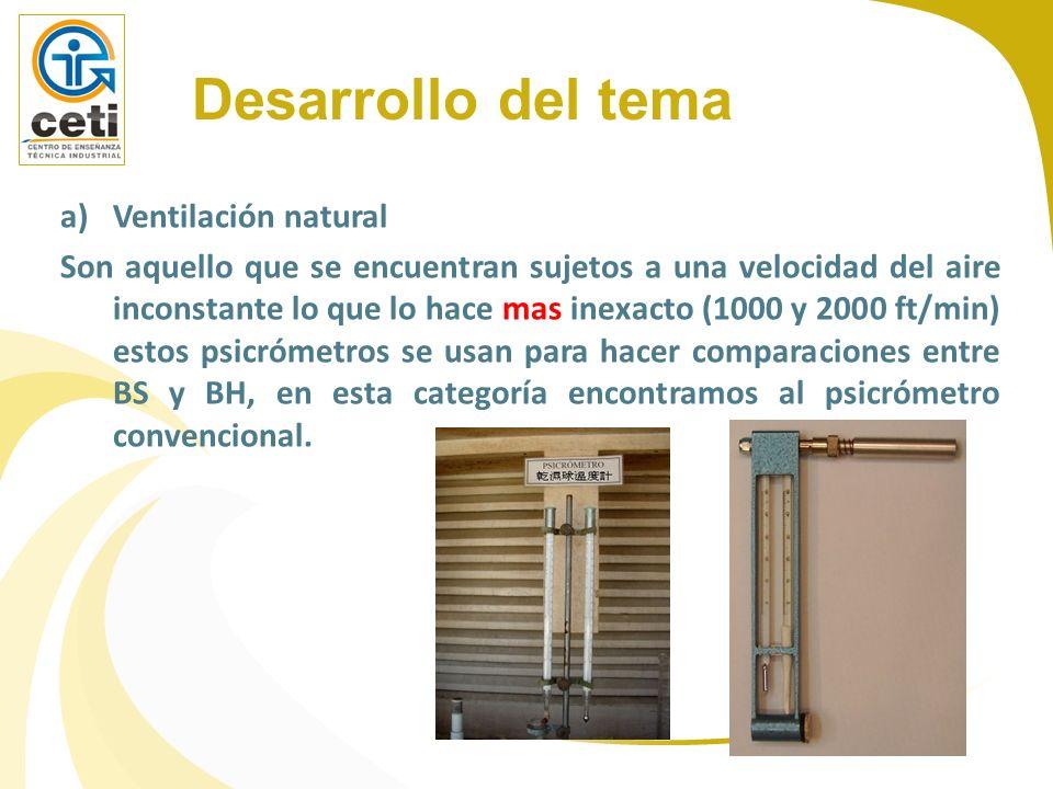 a)Ventilación natural Son aquello que se encuentran sujetos a una velocidad del aire inconstante lo que lo hace mas inexacto (1000 y 2000 ft/min) esto