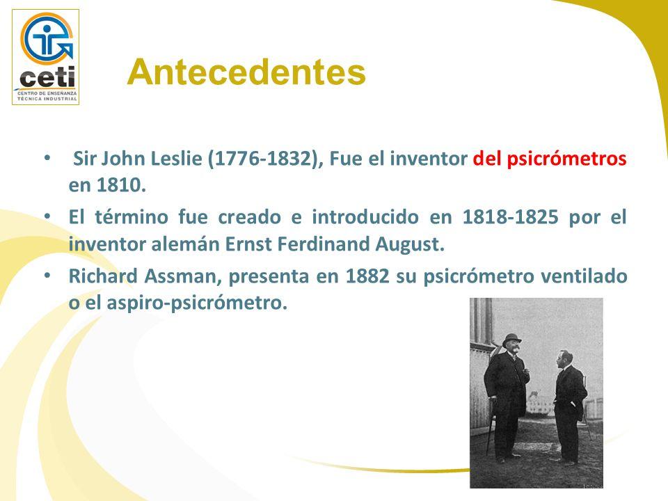 Antecedentes Sir John Leslie (1776-1832), Fue el inventor del psicrómetros en 1810. El término fue creado e introducido en 1818-1825 por el inventor a