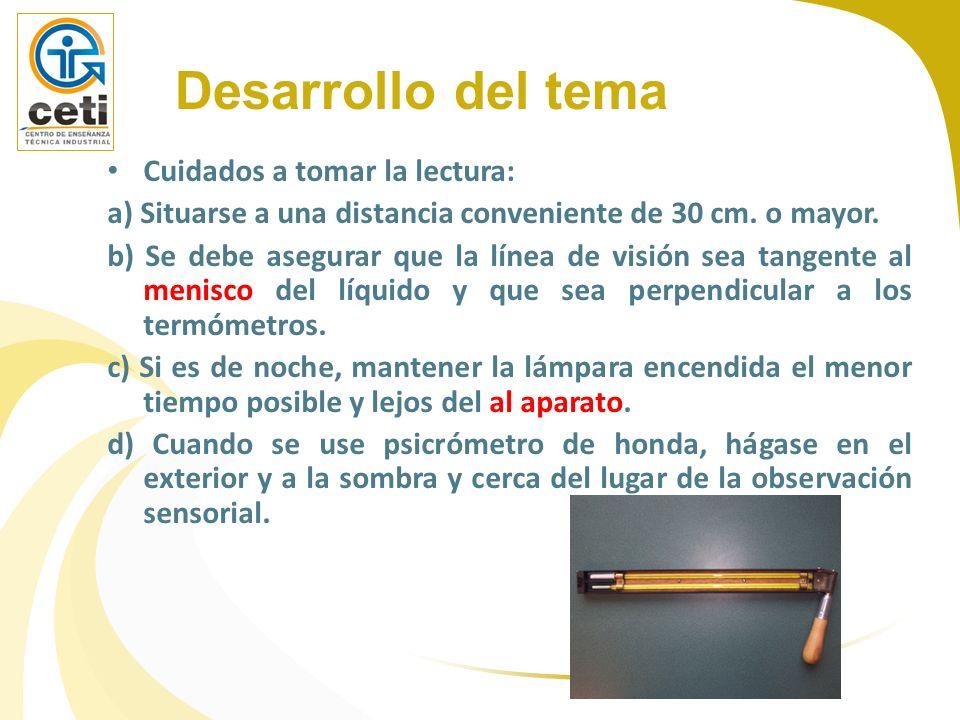 Cuidados a tomar la lectura: a) Situarse a una distancia conveniente de 30 cm. o mayor. b) Se debe asegurar que la línea de visión sea tangente al men