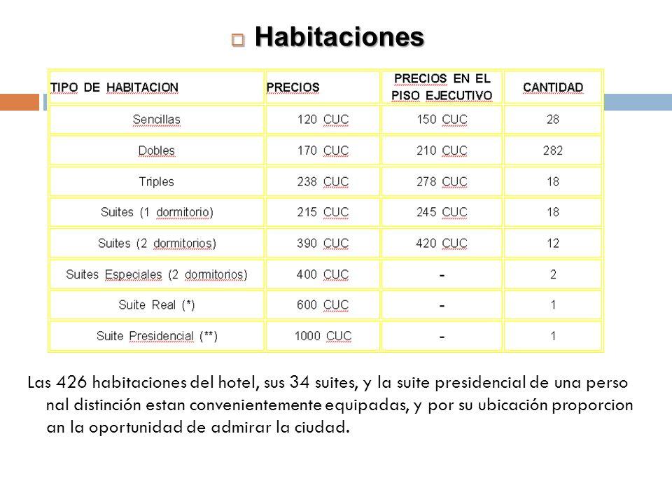 Habitaciones Habitaciones Las 426 habitaciones del hotel, sus 34 suites, y la suite presidencial de una perso nal distinción estan convenientemente eq
