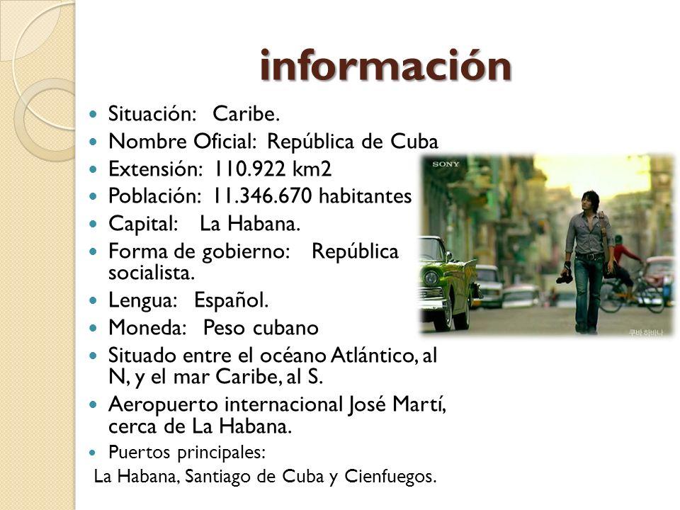 información Situación: Caribe. Nombre Oficial: República de Cuba Extensión: 110.922 km2 Población: 11.346.670 habitantes Capital: La Habana. Forma de