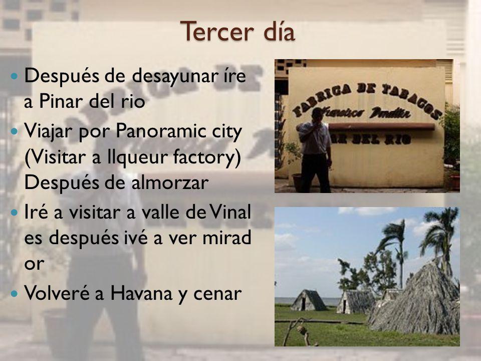 Cuarto día Después de desayunar iré a ver Cienfuegos Voy a ír visitar a Jagua Bay y tomaré bote Después de almorzar visita ré a las típicas Cienfuegos - calle de Prado, El Malecó n, Parque José Martí y Teat ro Tomás Terry etc.