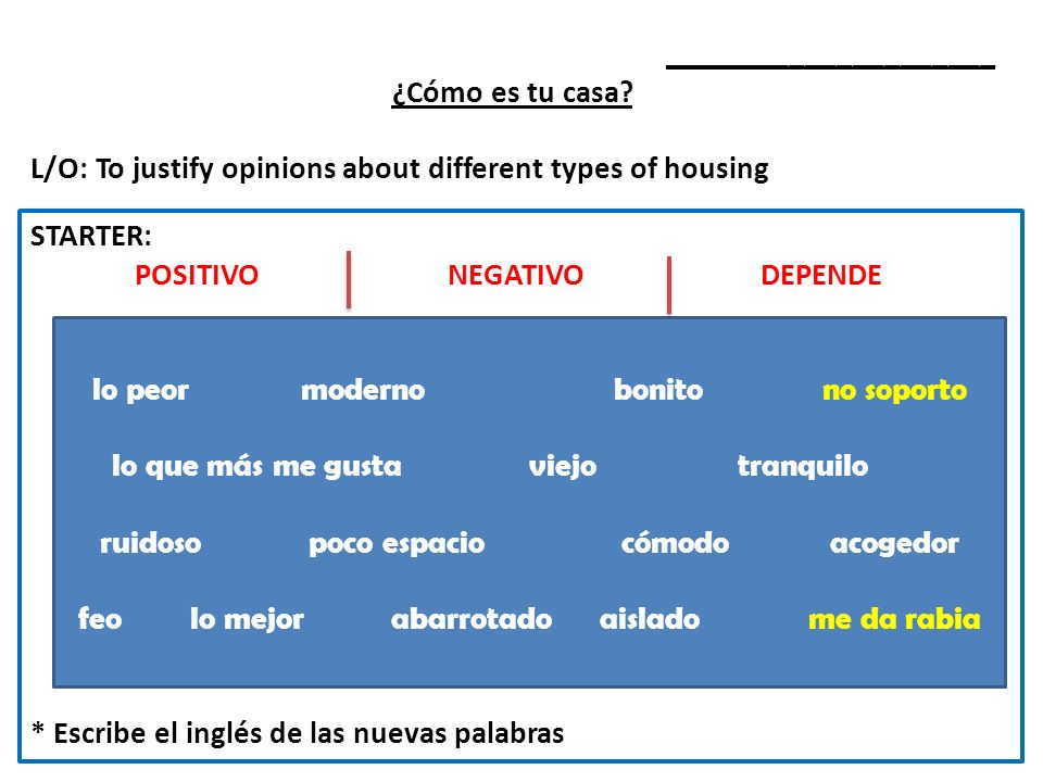 _____________________ ¿Cómo es tu casa? L/O: To justify opinions about different types of housing STARTER: POSITIVONEGATIVODEPENDE * Escribe el inglés