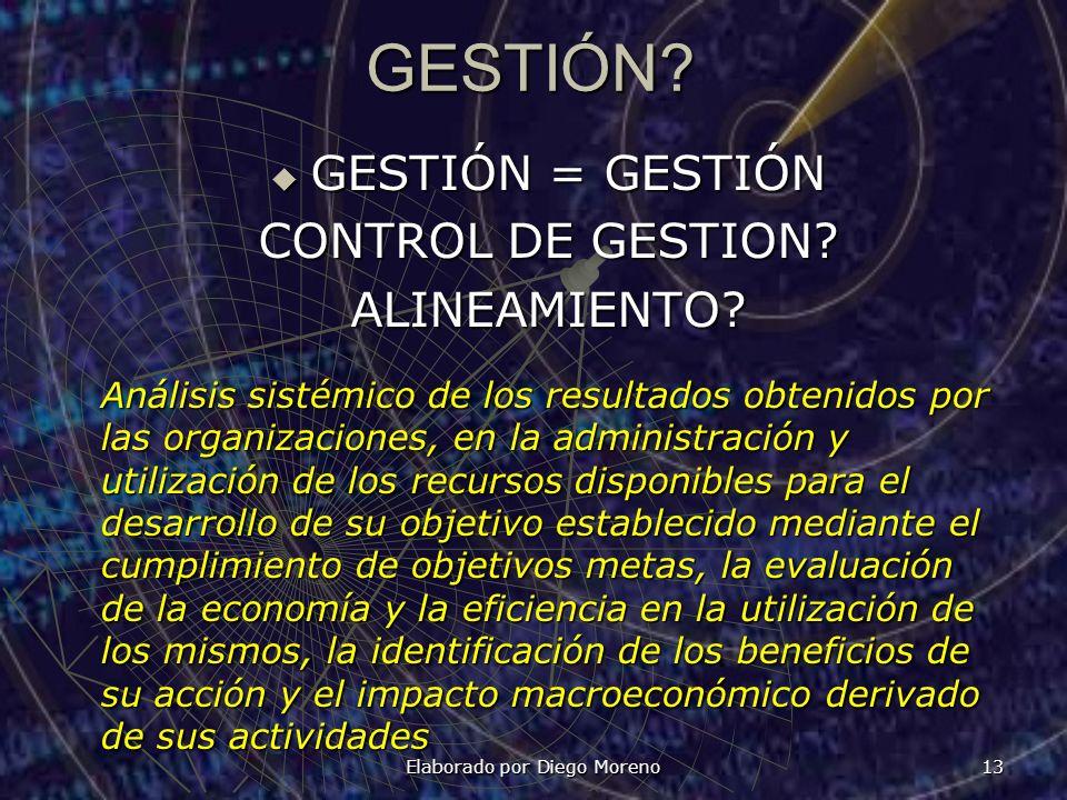 GESTIÓN? GESTIÓN = GESTIÓN GESTIÓN = GESTIÓN CONTROL DE GESTION? ALINEAMIENTO? Elaborado por Diego Moreno 13 Análisis sistémico de los resultados obte