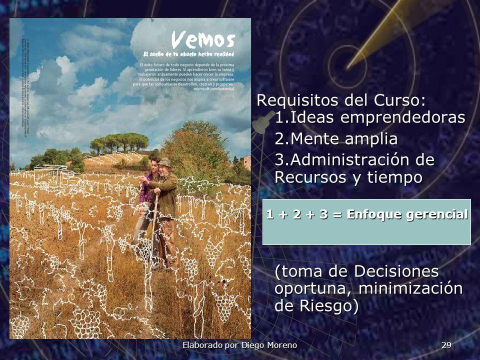Elaborado por Diego Moreno 29 Requisitos del Curso: 1.Ideas emprendedoras 2.Mente amplia 3.Administración de Recursos y tiempo (toma de Decisiones opo
