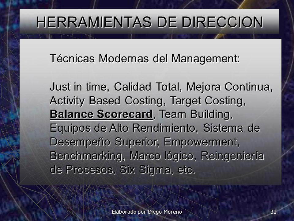 Elaborado por Diego Moreno 31 HERRAMIENTAS DE DIRECCION Técnicas Modernas del Management: Just in time, Calidad Total, Mejora Continua, Activity Based