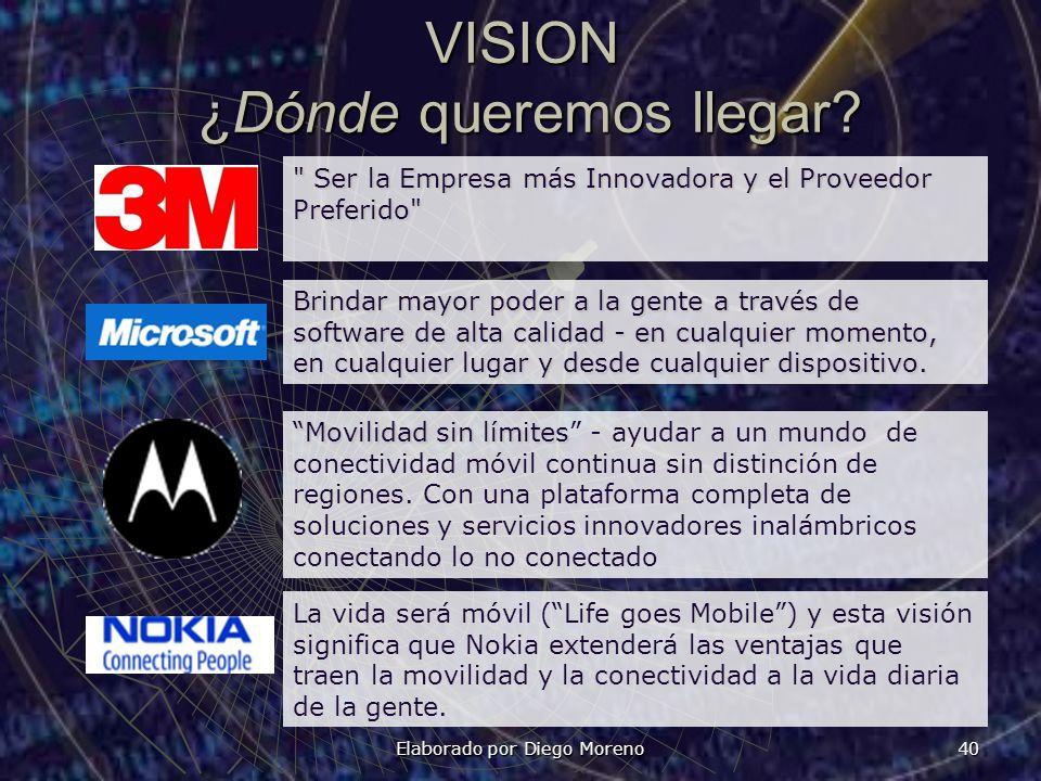 Elaborado por Diego Moreno 40 VISION ¿Dónde queremos llegar?