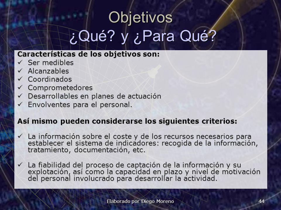 Elaborado por Diego Moreno 44 Objetivos ¿Qué? y ¿Para Qué? Características de los objetivos son: Ser medibles Ser medibles Alcanzables Alcanzables Coo