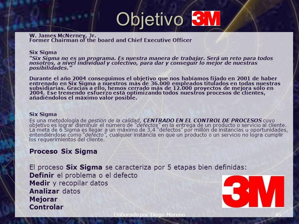 Elaborado por Diego Moreno 45Objetivo W. James McNerney, Jr. Former Chairman of the board and Chief Executive Officer Six Sigma Six Sigma no es un pro