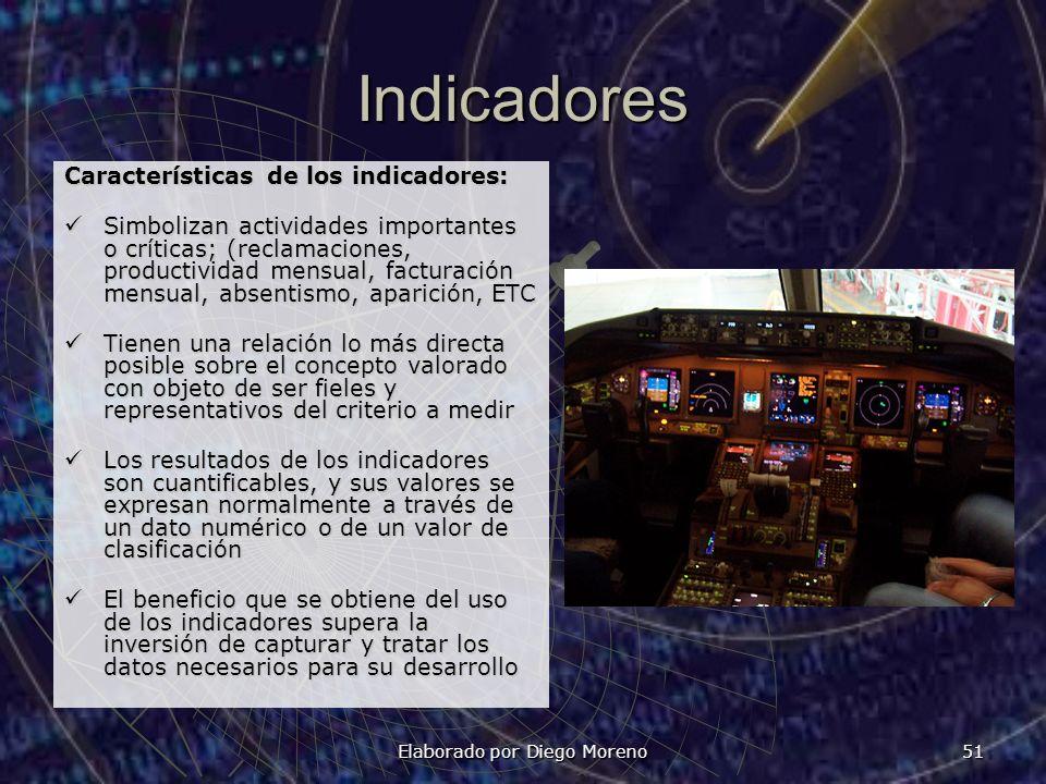 Elaborado por Diego Moreno 51 Indicadores Características de los indicadores: Simbolizan actividades importantes o críticas; (reclamaciones, productiv