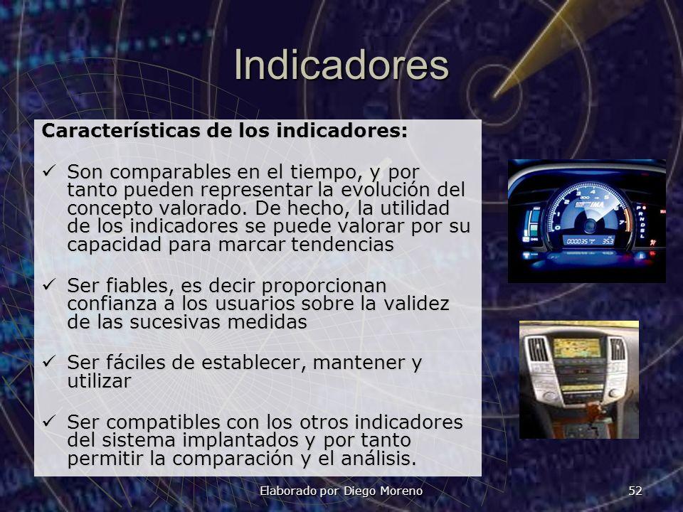Elaborado por Diego Moreno 52 Indicadores Características de los indicadores: Son comparables en el tiempo, y por tanto pueden representar la evolució