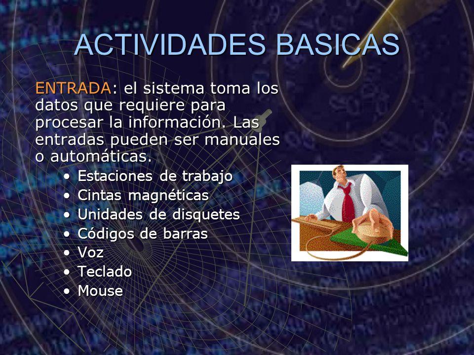 ACTIVIDADES BASICAS ENTRADA: el sistema toma los datos que requiere para procesar la información. Las entradas pueden ser manuales o automáticas. Esta