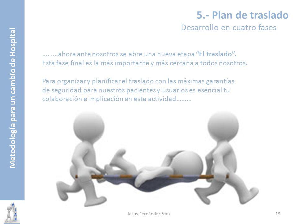 Metodología para un cambio de Hospital 5.- Plan de traslado Desarrollo en cuatro fases ………ahora ante nosotros se abre una nueva etapa El traslado. Est