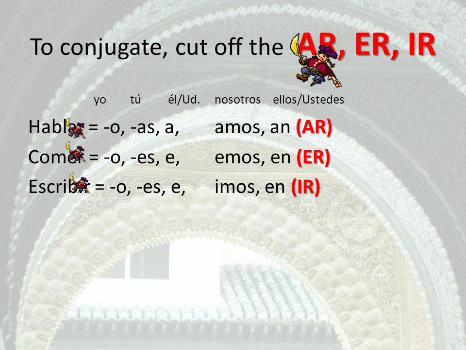 AR, ER, IR To conjugate, cut off the AR, ER, IR yo túél/Ud.nosotros ellos/Ustedes (AR) Hablar = -o, -as, a, amos, an (AR) (ER) Comer = -o, -es, e, emo