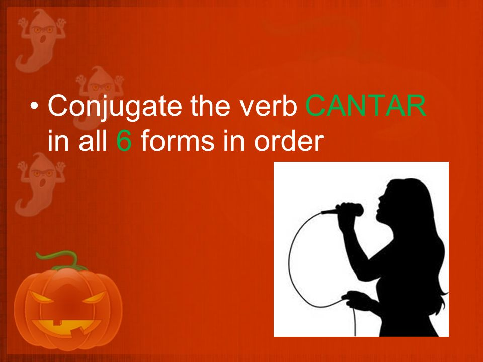 Conjugate the verb CANTAR in all 6 forms in order
