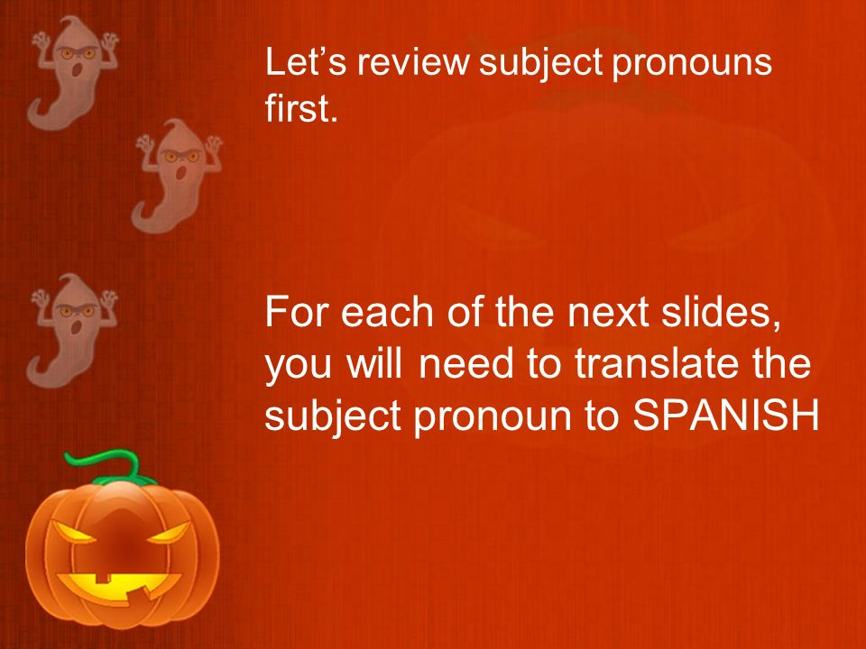 Lets review subject pronouns first.